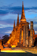 Ayuthaya Prints - Three illuminated pagodas Thailand Print by Fototrav Print