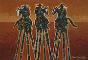 Abstract Dogs Paintings - Three In Brown by Lance Headlee