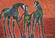 Contemporary Western Painting Originals - Three In The Family by Lance Headlee