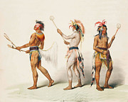 Indians Digital Art Prints - Three Indians Playing Lacrosse Print by Unknown