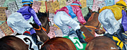 Kentucky Derby Mixed Media Prints - Three into the turn Print by Michael Lee