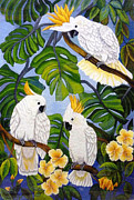 Parrot Tapestries - Textiles Metal Prints - Three is a Crowd hand embroidery Metal Print by To-Tam Gerwe