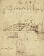 Planning Drawings Prints - Three kinds of movable bridge Print by Leonardo Da Vinci
