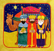 Star Of Bethlehem Paintings - Three Kings and Camel by Linda Benton