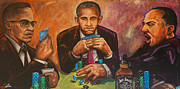 Obama Paintings - Three Kings Full House by Charles Styles