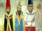 Religious Mixed Media Prints - Three Kings Print by Madlyn Ferraro