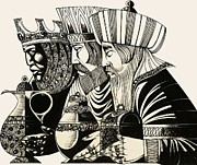 Card Drawings Prints - Three Kings Print by Richard Hook