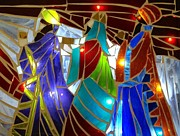 Christmas Card Glass Art Prints - Three Kings Tres Reyes Magos Print by Cindy Calderon