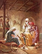 Nativity Paintings - Three kings worship Christ by William Brassey Hole