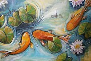 Koi Painting Posters - Three Koi Fishes - The Search Poster by Soma Mandal Datta