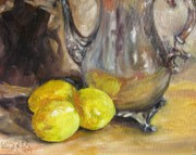 Silver Tea Pot Paintings - Three Lemons by Gloria Turner