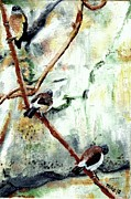 Little Birds Paintings - Three Little Birds by Blake Grigorian