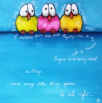 Blue Art Painting Prints - Three Little Birds Print by Lucia Stewart
