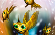 Three Little Fishies And A Mama Fishie Too Print by Bob Orsillo