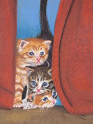 Hiding Pastels Posters - Three Little Kittens Poster by Tammy Crawford