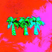 Palm Trees Mixed Media Prints - Three Little Palms Print by Jennifer Matthews