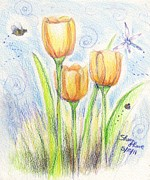 Easter Flowers Drawings Posters - Three little tulips Poster by Shana Rowe