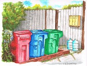 Scenic Drive Paintings - Three Mail boxes and three trash cans in West Hollywood - California by Carlos G Groppa