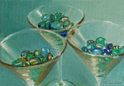 Martini Wall Art Paintings - Three Martini Glasses with Jewels by Sarah Parks