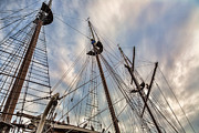 Tall Ships Prints - Three Masted Rigging Print by Dale Kincaid