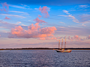 Schooner Prints - Three masted schooner at anchor in the St Marys River Print by Louise Heusinkveld