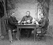 1880s Framed Prints - Three Men Playing Cards Framed Print by Underwood Archives