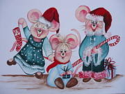 Animal Lover Paintings - Three Merry Mice by Leslie Manley