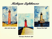 Lighthouse Art Paintings - Three Michigan Lighthouses by Michael Vigliotti