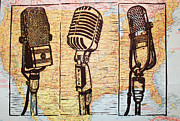 Lino Drawings Posters - THree Microphones on Map Poster by William Cauthern