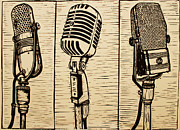 Lino Drawings Posters - Three Microphones Poster by William Cauthern