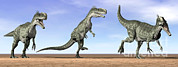 Three Dimensional Digital Art - Three Monolophosaurus Dinosaurs by Elena Duvernay