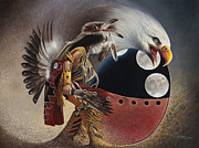 Feathers Painting Prints - Three Moon Eagle Print by Ricardo Chavez-Mendez