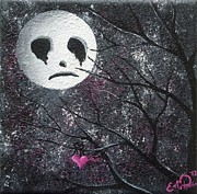 Elizabeth Matlack Paintings - Three Moons Series - Man In The Moon by Oddball Art Co by Lizzy Love