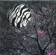 Man In The Moon Paintings - Three Moons Series - Zebra Moon by Oddball Art Co by Lizzy Love
