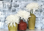 Red Vase Acrylic Prints - Three Mums Each In A Vase Acrylic Print by Marsha Heiken