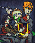 Surrealism Pastels Originals - Three Musicians by Kamil Swiatek
