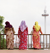 Hijab Fashion Posters - Three Muslim Women Poster by Shaun Higson
