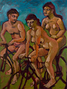Cyclists Paintings - Three nude cyclists in red by Peregrine Roskilly