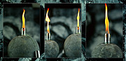 Oil Lamp Photo Originals - Three oil lamps by Tommy Hammarsten