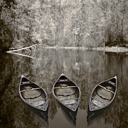 Debra And Dave Vanderlaan Prints - Three Old Canoes Print by Debra and Dave Vanderlaan