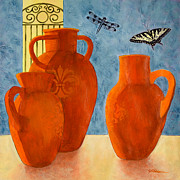 Pottery Paintings - Three Oldest by Sandra Neumann Wilderman