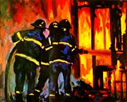 Burning Buildings Posters - Three On The Line Poster by John Malone