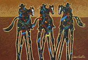 Contemporary Cowgirl Paintings - Three On The Trail by Lance Headlee
