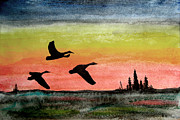 Geese Paintings - Three on the wind by R Kyllo
