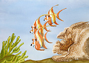 Angelfish Paintings - Three Orange Angelfish by Kathy Przepadlo