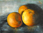 Peel Paintings - Three Oranges- Eat Pretty Things by Timi Johnson
