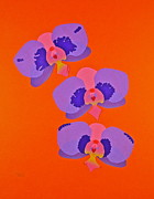 Paper Cutouts Prints - Three Orchids Print by Michele Myers