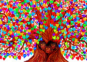 Owls Drawings - Three Owlets in the Tree of Hearts by Nick Gustafson