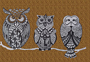 Owls Drawings - Three Owls on a Branch Leopard Print by Karen Larter