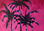 Lobby Art Paintings - Three Palm Trees with Magenta skies by Patricia Awapara